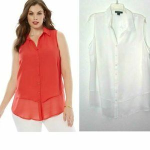 Roaman's White 20W Tiered Blouse Button Top NEW